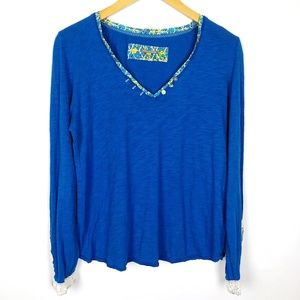 Anthro Little Yellow Button Blue Lace Cuff Top